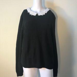 ASOS Black Sweater Lace Collar Detail Size 12